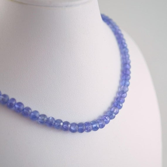 Genuine Tanzanite Rondelles, Gemstone Beads, AA - AAA, Periwinkle Blue Violet, Faceted Roundel, 4 - 5mm - 7 inch strand