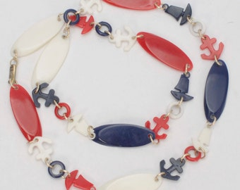 Vintage Nautical Necklace Anchors Plastic Charms and Beads Red White Blue