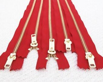 NEW: 10inch - Lava Red Metal Zipper - Gold Teeth - 5pcs