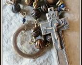 Bronze Irish Penal Rosary in Carved Burnt Horn & Lapis Lazuli Gemstone