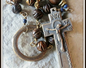 Bronze Irish Penal Rosary in Carved Burnt Horn & Lapis Lazuli Gemstone