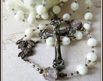 White Mother of Pearl Rosary for Women w/ Miraculous Rose Center in Bronze, 8mm Large Beaded Rosary