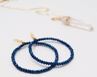 C o b a l t Blue Glass-Hoop Earrings, 14K Gold Filled