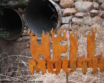 Hell Mouth Metal Steel Garden Yard Sign