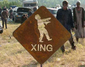 Zombie Crossing Metal Yard or Garden Stake Sign