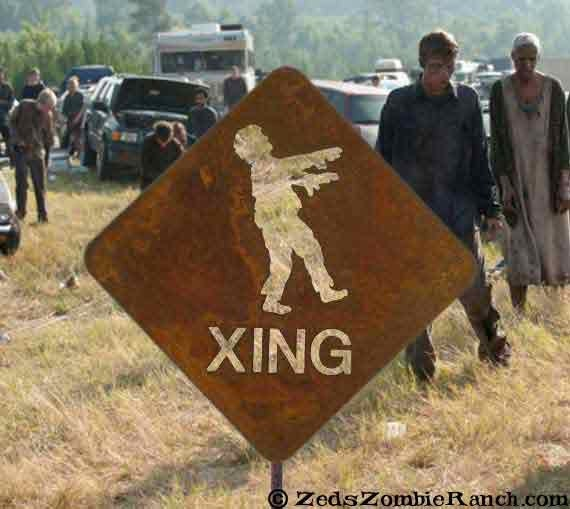 Zombie Crossing Metal Yard or Garden Stake Sign