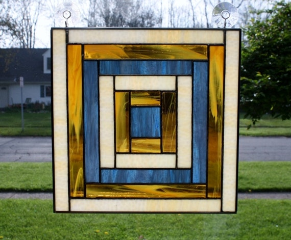 Cabin Glass Window : Stained glass window panel log cabin quilt block
