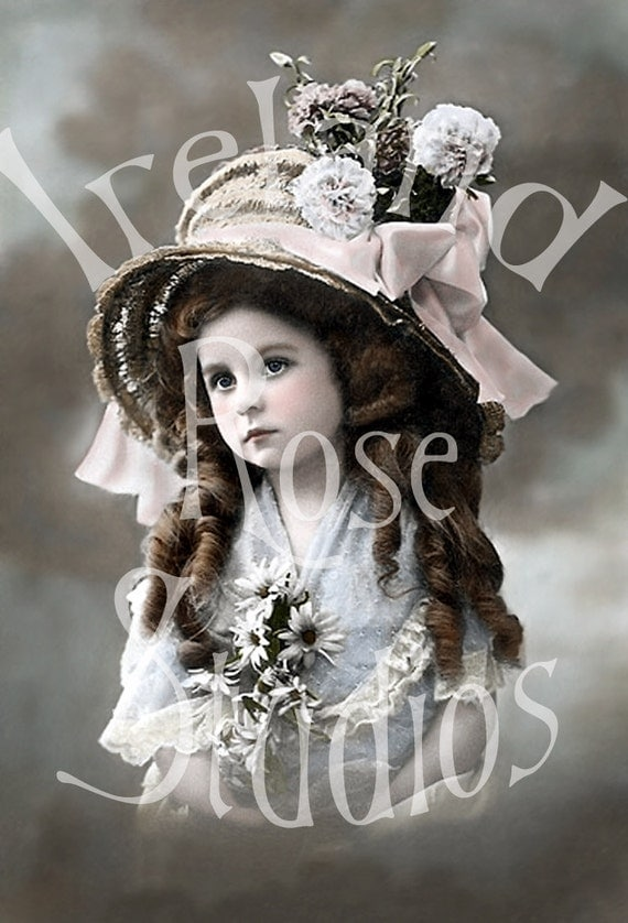 Victorian Girl-French Postcard Digital Download