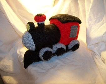 Crochet train Steam Engine ANY colors you want and can be made to rattle