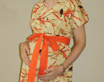 LINED Quinn Maternity Hospital Gown - Aviary 2 Sparrows in Bark - Lined in the Color of Your Choice - by Mommy Moxie on Etsy