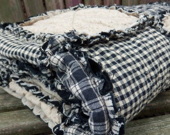 Black and Tan California King Size Rag Quilt, Homespun Quilt,  Primitive Country Decor, Handmade in NJ