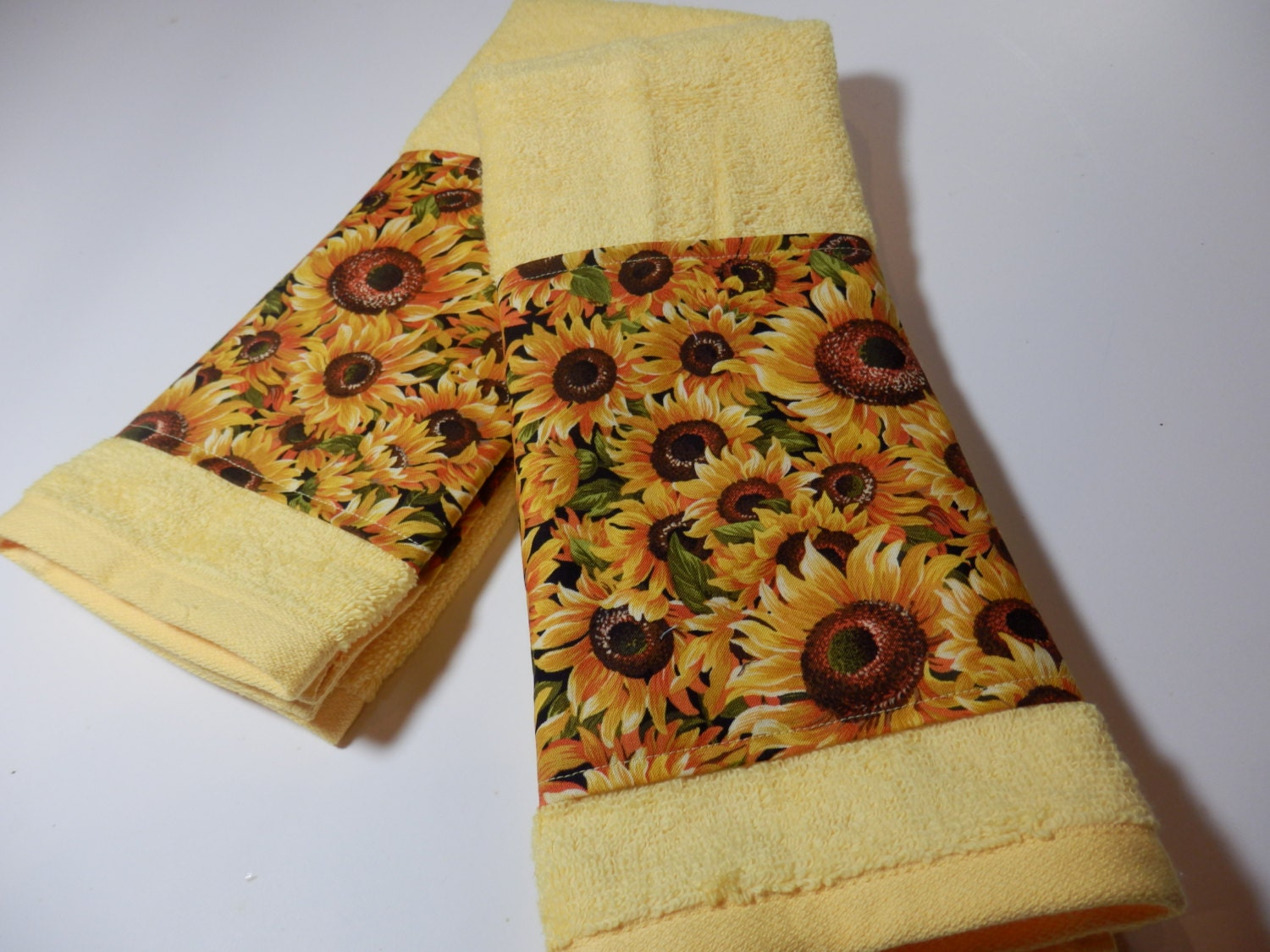 Sunflower bath towels yellow terry cloth handmade in nj