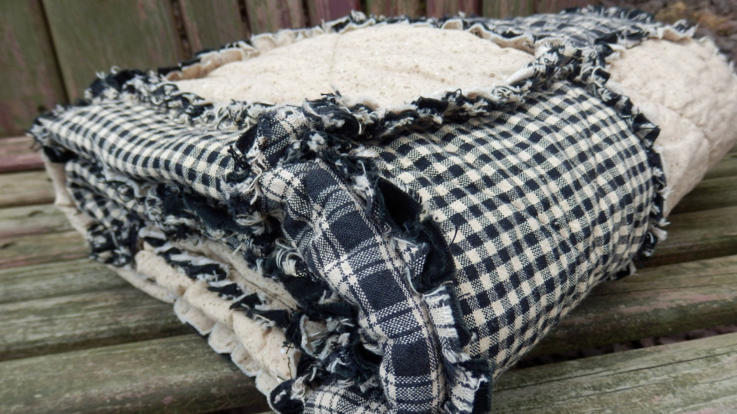 black and tan california king size rag quilt homespun quilt. Black Bedroom Furniture Sets. Home Design Ideas