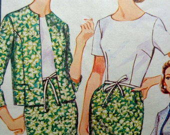 60s Sheath Dress Pattern Bust 42 Advance 3381 Plus Size 60s Dress & Jacket Pattern