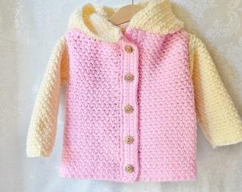 Crochet Sweater, Baby Sweater, Pink Lavender Cream sweater, Crochet Hoodie