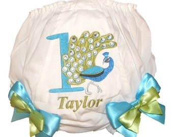 "Personalized ""Bling"" Birthday Baby Girl Diaper Cover Bloomers Peacock Double Bows"