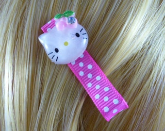 NEW - Kitty Sparkle and Polka Dots Hair Clips - Hairclip, Hair Bow, Hairbow, Hair Accessory -HM13