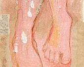Men's Feet - Affordable original mixed media artwork by Ina Mar. Art brut / Outsider art / Raw art