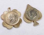 Vintage Gold toned metal charms pendants L Maubert Prince De Monaco