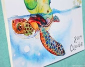 2014 Wall Calendar of Pets and Animal Friends in Watercolor Printed on recycled paper