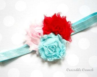 Sweetheart Headband, Red, Pink, and Aqua Headband