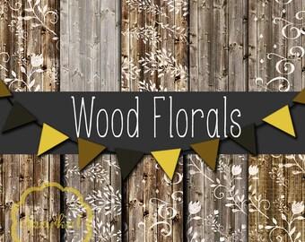 WOOD Digital Paper, Barn Wood PRINTABLE Paper, Printable distressed Wood paper Instant Download Floral Distressed Wood Rustic Wood texture