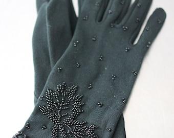 GLOVES - BLACK - lovely BEADED - short gloves - leaves and lattice