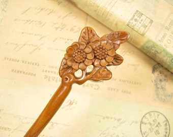 Exquisite Peach Wood Hair Stick - Camellia Blossom