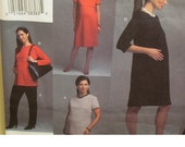 Empire Waist Maternity Dress Pattern, Top, Skirt, Pants, Short, Long Sleeves, Jewel Neck, Vogue No. 2818 UNCUT Size 12 14 16