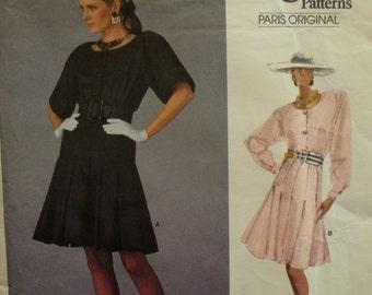 1980s Christian Dior Dress Pattern, Pleated Skirt, Blouson Bodice, Front Button, Scoop Neck, Vogue Paris Original No. 2063 UNCUT Size 14