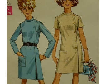 """1960s Side Button Dress Pattern, Straight Cut, High Collar, Side Pleat, Long/Short Sleeves, Pocket, Simplicity No. 7850 Size 10 Bust 32.5"""""""