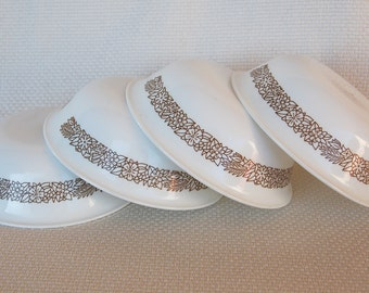 Set of 4 Vintage Corelle WOODLAND Soup and Cereal Bowls Brown and White Corelle