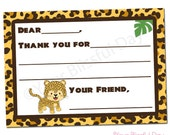 PRINTABLE Leopard Fill-in-the-Blank Thank You Cards (Boy or Girl) #546