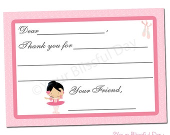 PRINTABLE Ballerina Fill-in-the-Blank Thank You Cards (Character of your choice) #503