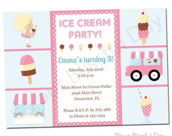 PRINTABLE Girl Ice Cream Party Invitation #534