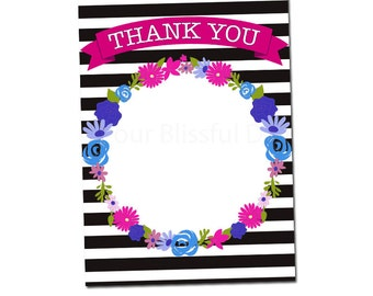 PRINTABLE Stripes and Flowers Thank You Cards #113