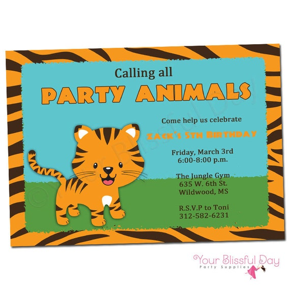 PRINTABLE Tiger Party Invitations (Boy or Girl) #595