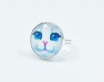 Blue-eyed Cat Ring, White Cat Ring, Cat Ring, Cat Jewelry, Cat Accessory, Adjustable Ring