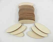 """25 Wood Ovals 2"""" x 3/4"""" x 1/8"""" Unfinished Wood Oval Shapes Laser Cutouts - No Hole"""