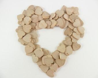 "77 Wood Hearts 3/4"" x 3/4"" x 1/8"" Unfinished Wood Hearts"