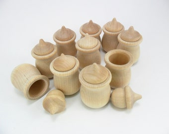 "Wood Candle Cups / Wood Acorns / Bean Pots 1 1/2"" H x 1 5/16"" W - Set of 20 Pieces"