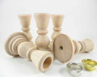 "Wood Candlesticks 4 1/4"" Candle Stick Holders Wedding Cake Layer Dividers - 5 Pieces"
