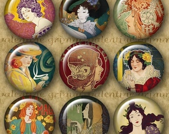 ART NOUVEAU FEMMES 1 inch Circles - Digital Printable collage sheet for Pendants Cufflinks Magnets Crafts...Mucha Grasset privat livemont
