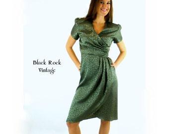 Wrap Dress Sage Green 1980s Vintage Size Small/Medium