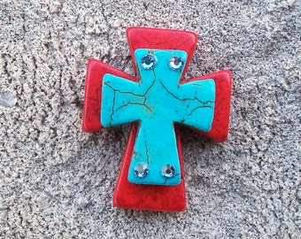 Large Stacked Deep Red Stone Cross with Turquoise Blue Stone Cross and Bling