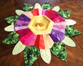 Funky Flower Quilted Table Topper Made with Forty Four Fabrics by Sweet Tooth Quilts