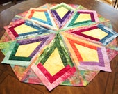 Georgeous Colorful Batik Table topper Show Stopper by Sweet Tooth Quilts