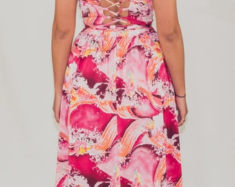 Acid Waves vintage 70s dress with lace-up back and pink wave print