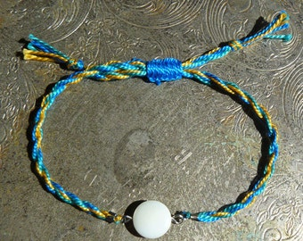 Blue, Green, and Yellow Friendship Bracelet With Mother of Pearl Accent - Firefly
