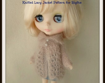 Instant Download PDF Knitted Lacy Jacket Pattern for Blythe